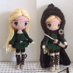 Amigurumi Doll Pattern Crochet Anime Female Girl Plush - Elvira the Woodland Elf Archer with Archery Quiver & Bow (+ hair and eye tutorial)