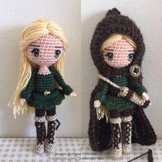 Muñeca amigurumi patrón ganchillo mujer Anime niña Plush - Elvira el bosque elfo arquero con tiro con arco aljaba y arco (+ tutorial de pelo y ojos)