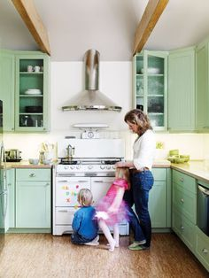 Cork flooring can add so much warmth to your kitchen. It's also antimicrobial, which is especially advantageous if you have kids or pets in your kitchen!