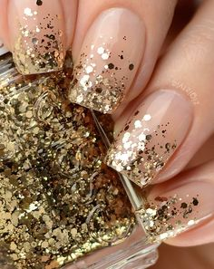 Glitter Nails anyone can do, and work for every age! ~ Mary Wald's Place - nude nails with gold ombre / gradient glitter tips (Essie Summit Of Style) Essie, Holiday Nails, Christmas Nails, Holiday Makeup, Christmas Glitter, Christmas Holidays, Gold Glitter Nails, Gold Tip Nails, Glitter Nail Tips