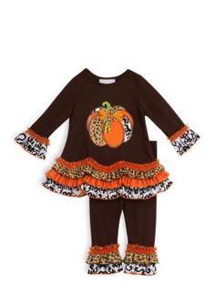 Rare Editions Brown Long Sleeve Pumpkin Tunic and Legging Set Girls 7-16