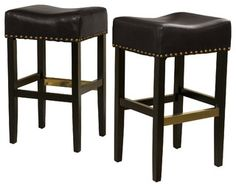 Carmen Backless Leather Bar Stool (Set of 2), Black - contemporary - bar stools and counter stools - by Great Deal Furniture