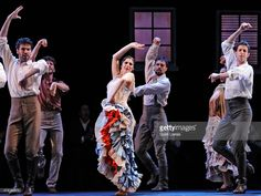 Dancers of the Spanish National Ballet perform during the dress rehearsal of the flamenco show 'Alento & Zaguan' on stage at La Zarzuela Theatre on June 11, 2015 in Madrid, Spain.
