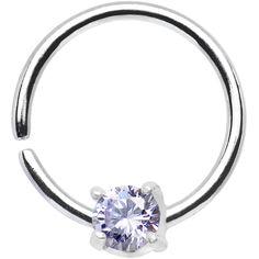 "18 Gauge 3/8"" 925 Silver Purple CZ Daith Tragus Earring | Body Candy Body Jewelry"