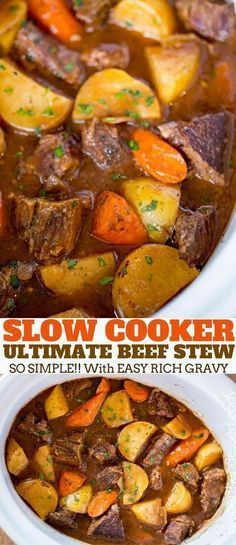 Ultimate Slow Cooker Beef Stew made with chuck roast, Yukon potatoes and carrots for a rich beef stew that is perfect for the cold weather. beef roast Ultimate Slow Cooker Beef Stew - Dinner, then Dessert Crock Pot Recipes, Beef Stew Recipes, Best Beef Stew Recipe, Easiest Crockpot Recipes, Recipe For Chuck Roast, Chuck Roast In Crockpot, Tasty Slow Cooker Recipes, Recipes With Beef Stew Meat, Dinner Crockpot Recipes