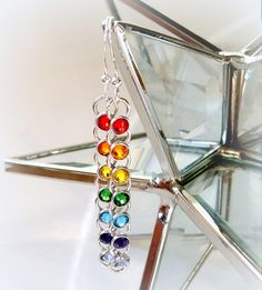 These Earrings Rainbow Dotsare madewithSwarovski Crystalette buttons that sparkle and dance in the light. Adangle style earring that will look great!.