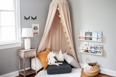 Make a Modern Reading Nook for Kids With These Easy Steps Sweet and cozy reading area -- perfect for Toddler Reading Nooks, Corner Reading Nooks, Reading Corner Kids, Bedroom Reading Nooks, Bedroom Nook, Lego Bedroom, Minecraft Bedroom, Kids Reading Areas, Kids Corner