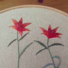 열네번째 꽃자수수업책을 또 큰아이가 골라주었습니다.  잎부분에서 휘어지는 꽃은 할수록 조금씩 늘어가는듯..조금씩 덜 어색해지는듯 합니다.  #하늘나리꽃 #하늘나리#꽃자수수업#embroidery#야생화자수#자수