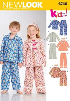CHILDRENS SLEEPWEAR Sewing Pattern - Boys and Girls Pajamas and Nightgown New Look 6746 Kids! Size 3 - 4 - 5 - 6 - 8 Make a pajama set for boys and girls. Childrens Pyjamas, Girls Pajamas, Dresses Kids Girl, Kids Outfits, Moda Peru, Nightgown Pattern, Pajama Pattern, Pants Pattern, New Look Patterns
