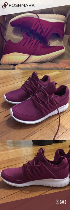 Adidas Tubular Radial Maroon Purple Burgundy BNIB! I did wear them around the house for a few hours and decided they're way too big for me! These are sold out in this color everywhere! Very lightweight, roomy, and comfortable. Look cute at the gym with this gorgeous maroon color 😊💪🏼🌻 Size 7, could even fit 7.5 Adidas Shoes Athletic Shoes