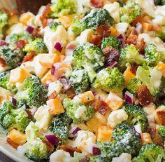 Broccoli and Cauliflower Salad {with Creamy Dressing! Cooking Classy Broccoli and Cauliflower Salad {with Creamy Dressing! Cooking Classy Len Wylie lenwylie Recipes to try Broccoli and Cauliflower Salad […] cauliflower salad Healthy Meals, Easy Meals, Healthy Eating, Soup And Salad, Pasta Salad, Macaroni Salad, Salad Sauce, Broccoli Cauliflower Salad, Fresh Broccoli