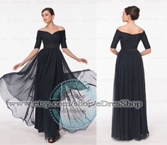 Off the Shoulder Evening Dress Modest Mother of the Bride Dress with long sleeves Night Blue Mother of the Groom Dress Wedding Guest Dress