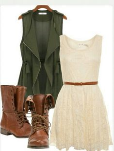 Casual, luv the tan boots with the olive green.