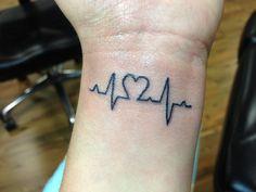EKG heart tattoo