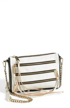 Rebecca Minkoff '5 Zip - Mini' Two-Tone Leather Crossbody Bag | Nordstrom