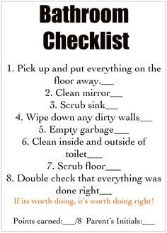 You give them the detailed job cards and then off they go to help you keep a clean house! Good idea to have a checklist for each room. Cleaning Checklist, Cleaning Hacks, Chore Checklist, Cleaning Schedules, Deep Cleaning, Weekly Cleaning, Zone Cleaning, Kids Checklist, Checklist Template