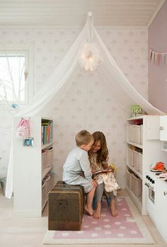 Childrens room canopy reading corner