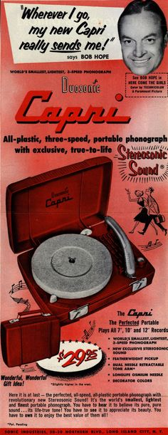 Bob Hope for Capri Record Player Ad
