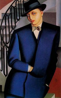 Tamara de Lempicka - Portrait of the Marquis d'Afflito (On a Staircase), 1926