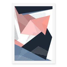 Poster Geométrico Azul Rosa Cinza - AntiMonotonia Store