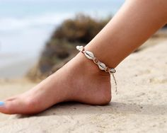 Ankle Bracelet Hemp Anklet Cowrie Shell Anklet by HempBeadery