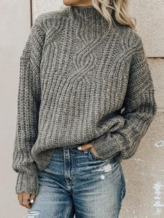 Casual Plus Size Turtleneck Sweater Pullover, Gray / XL Pull Orange, Sweat Shirt, Long Sleeve Sweater, Long Sleeve Shirts, Top Gris, Fashion Seasons, Long Sweaters, Sweater Weather, Pulls