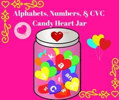 Valentines Day Candy Hearts Jar  #CVC #CVCclassroomreasource #cvc #alphabets #numbers #flashcards #kindergarten #TPT #Valentine'sDay