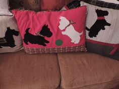 sewing up some scottie pillows for Christmas