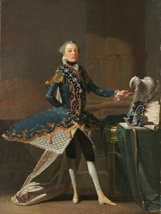 """ sartorialadventure: ""Portrait of Signor Scalzi by Charles Joseph Flipart, c "" century fashion is quite excentric, but century stage costume is even more so. Carlo Scalzi was an Italian castrato often compared. Historical Art, Historical Costume, Rococo Fashion, 18th Century Fashion, Theatre Costumes, Movie Costumes, Fashion History, Menswear, Clothes"