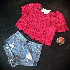 ootd // crochet // crop top // high waisted // denim shorts // cuff bracelet // red top // casual // Miami boutique // fashion // summer fashion // @girlswillbegirls