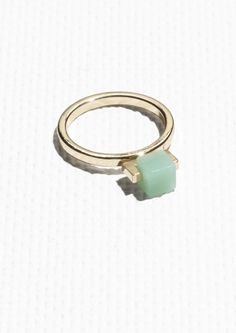 & Other Stories Cube Ring in Mint Green