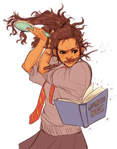 hermione being cute and multitasking while she gets dressed
