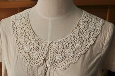 Venice lace Collar Appliques Beige Floral Emboridey Collars 1 pair