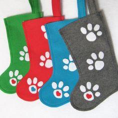 Pet Christmas stockings for Fido, Spot and Bella. Handmade by stitcholicious.etsy.com