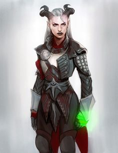 "stumblingsbalderdash: "" Herah Adaar: Inquisitor Another thank you to @crystalgraziano !! Herah looks wonderful and her armor is perfect!! :D Keep reading "" Thanks for having me draw your Qunquisitor, she's a badass!"