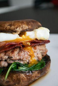 Paleo Breakfast Portobello Mushroom Burger