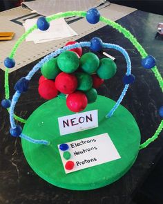 Atom: Neon 3D model 5th Grade Science Projects, School Projects, Projects For Kids, Crafts For Kids, Craft Projects, Diy Crafts, Neon Atom Model, Atomic Structure Model, Atom Model Project