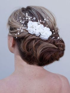 Beauty  Beaded Flower Hair Comb by HairComestheBride on Etsy, $92.00