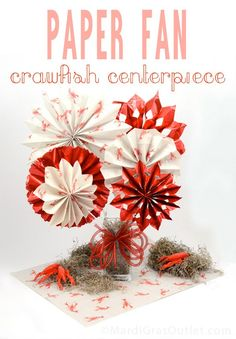 Party Ideas by Mardi Gras Outlet: Paper Fan Crawfish Boil Centerpiece....... change to color scheme for party!
