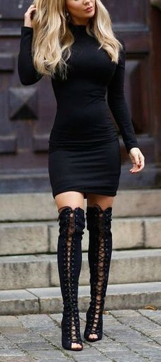 LBD + lace up thigh high boots.