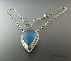 Silver Necklace, Blue Chalcedony Agate Necklace, Gemstone Jewelry, Necklace, Sterling Silver, Metalsmith Jewelry