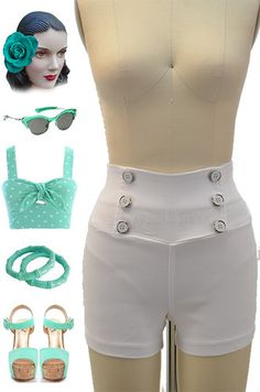 Brand new in store at Le Bomb Shop! Find them here: http://www.ebay.com/itm/50s-Style-WHITE-High-Waisted-PINUP-Shorts-NAUTICAL-Button-Detailing-/121093219785?pt=US_CSA_WC_Shorts==item61d1d8fd6a