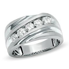 Men's 1 CT. T.W. Diamond Slant Wedding Band in 14K White Gold - Zales