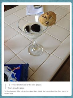 I might actually do this at a party. You can look fancy whilst eating milk and cookies