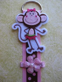 SALE  Pink Monkey Bow Clip Holder Organizer with by gracebows, $7.00