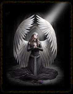 Fantasy art posters - Anne Stokes posters: Fantasy art poster by Anne Stokes. This Anne Stokes posterfeatures a beautiul dark haired angel praying and is called Prayer For The Fallen. Anne Stokes is an artist famous for her gothic and fantasy art work. Anne Stokes, Angels Among Us, Angels And Demons, Fallen Angels, Dark Angels, Angeles, Ange Demon, Fantasy Kunst, Guardian Angels