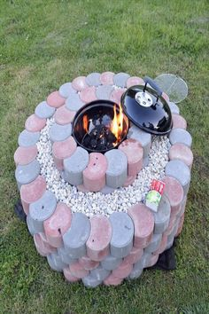 10 Wonderful Useful Ideas: Rustic Fire Pit Beautiful rustic fire pit fun.Fire Pit Party How To Build fire pit backyard bbq.Fire Pit Ring Home. Fire Pit Uses, Fire Pit With Rocks, Cool Fire Pits, Diy Fire Pit, Fire Pit Backyard, Grill Set, Outdoor Fire, Outdoor Decor, Indoor Outdoor