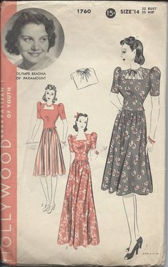 Early 40s Hollywood Pattern No 1760 Two Piece Dress Frock and Gilet with Featured Starlet Olympe Bradna of Paramount