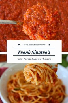 Frank Sinatra's favorite recipe for Italian Tomato Sauce introduced at Artanis; which is actually Sinatra spelled backward. The sauce was introduced to Southern California supermarkets in the late launch off the sauce Sinatra's family and friends g Spaghetti Recipes, Pasta Recipes, Beef Recipes, Dinner Recipes, Cooking Recipes, Spaghetti Tomato Sauce, Italian Spaghetti Sauce, Recipes For Tomatoes, Homemade Spaghetti Sauce