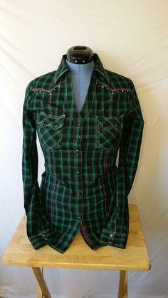 Rock 47 Wrangler Green Black Western Jewel Snap Embroidered Rhinestone Medium M #Wrangler #Western